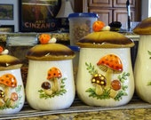 5 Piece vintage hand painted canister set