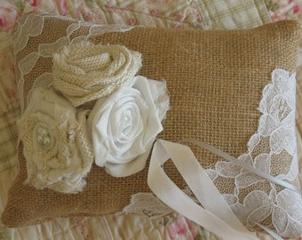 FrEE SHIPPing...Rustic Burlap and Lace Ring Bearer Pillow, with hand made Burlap Roses..
