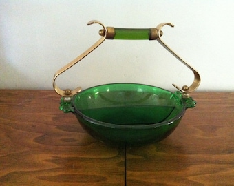 Green Glass Candy Dish  Nut Holder