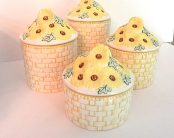 Country Kitchen Canister Set - Ceramic Daisy Design