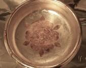 Beautiful Silver Leaf wooden Bowl with Gold Fleur de Lis Motif.