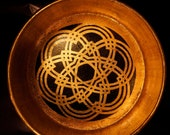 Beautiful GOLD LEAF wooden BOWL with Hand Painted Intricate woven pattern from the Icon Collection