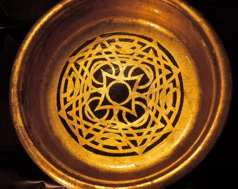 Beautiful GOLD LEAF wooden BOWL with Hand Painted Celtic Motif from the Trinity Collection.
