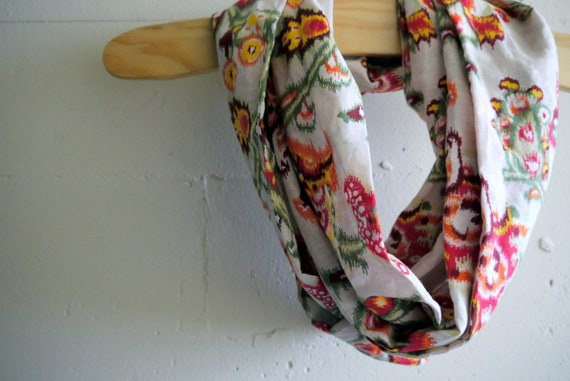 Infinity Scarf Circle Scarf - Ikat Bloom