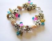Whimsical Metalized Flower Beaded Charm Bracelet