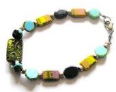 Yellow Rainbow Tie Dye Inspired, Black, Lemon Lime, Turquoise Czech Glass Beads w Light Mauve Wood Accent Beaded 8 inch Bracelet