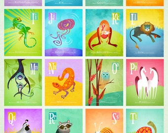 "Complete Animal Alphabet Series by Oddly Olive, Tiffany Holesovsky - Set of Twenty-Six, 8"" x 10"" Epson Paper Giclée Prints"