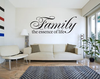 Family Essence Of Life Wall Decal Quote Vinyl Decal Art Sticker (v72)
