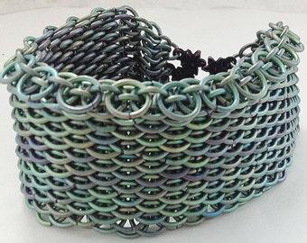 Chainmaille cuff bracelet green titanium dragonscale