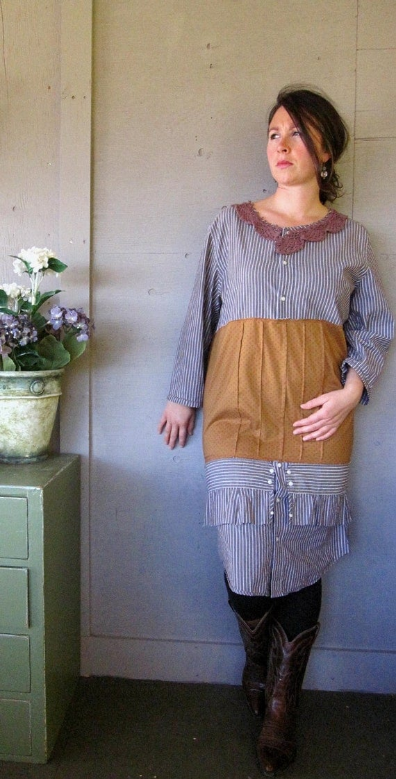L  XL upcycled clothing funky Edwardian influence dress top tunic frayed urban Romantic Shabby French  Gypsy Bohemian cowgirl prairie chic