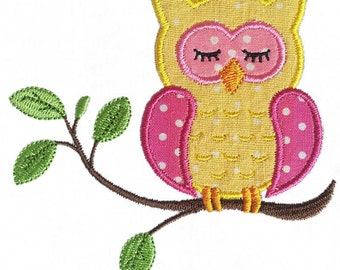 Instant Download Sleep owl  Applique Machine Embroidery Design NO:1140