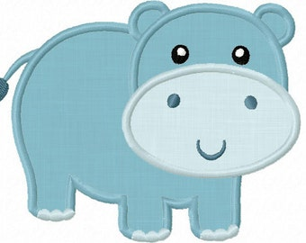 Instant Download Hippo  Applique Machine Embroidery Design NO:1222