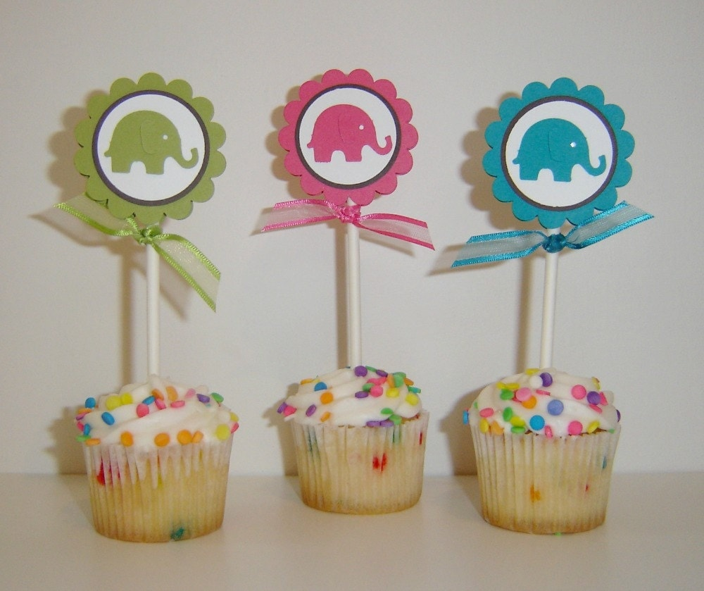 Baby shower cupcake toppers baby cupcake toppers for Baby shower cupcake picks decoration