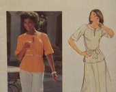 Vintage1980's Butterick 5478 UNCUT Pattern for Misses' Top, Skirt, Pants, and Belt in Size 14