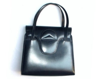 Vintage Leather Hand Bag - dark  blue vintage bag- 1960s - sixties - 60s -