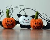 Halloween Bunting Garland Knitted Felt Bat Pumpkin- RESERVED.