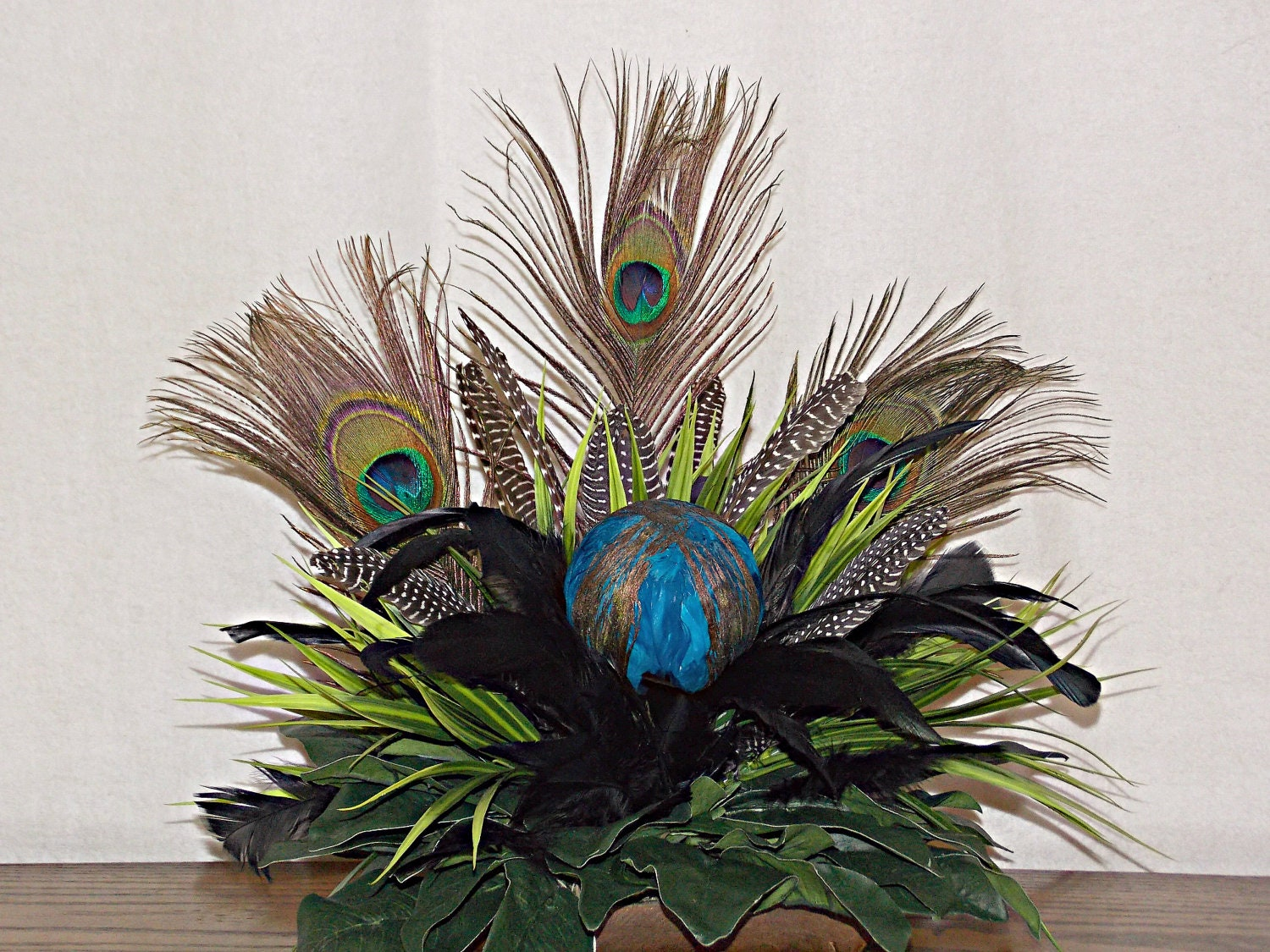 Peacock Feather Floral Arrangement With Guinea Feathers Black