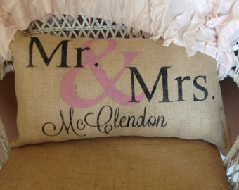 Personalized burlap mr and mrs pillow, personalized pillow, wedding gift, valentines gift