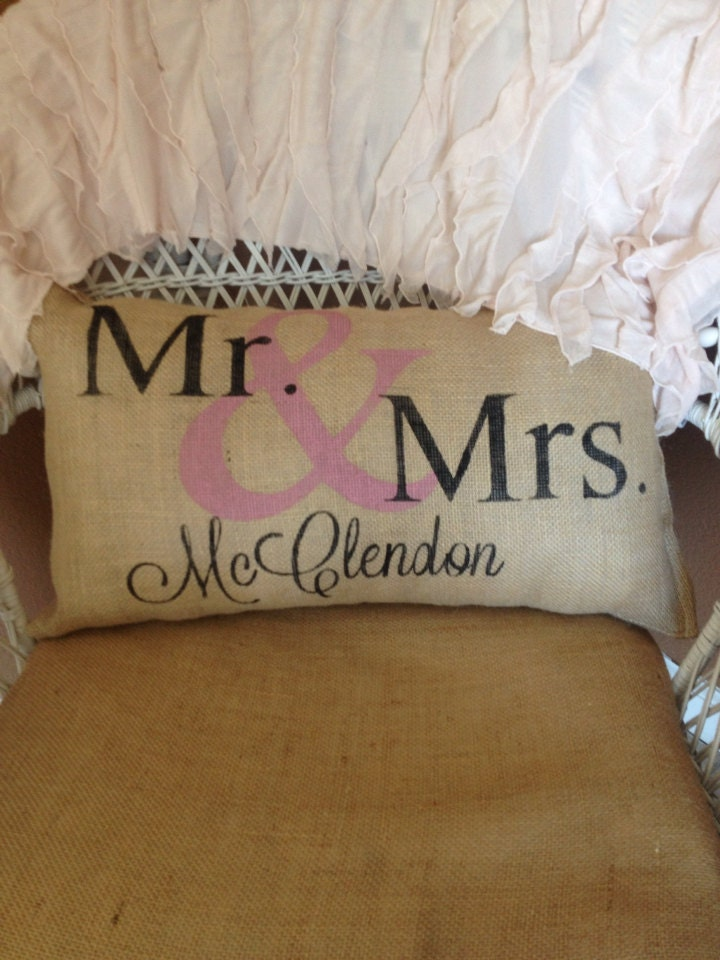 Personalized Burlap Mr And Mrs Pillow Personalized Pillow