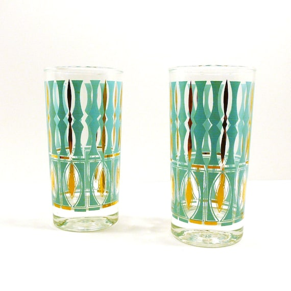 vintage mid century glasses, mod, mad men, barware, bar glasses, turquoise, atomic, glassware, 60s, gold details, entertaining