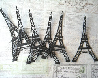 Eiffel Tower Die Cuts - Black Pearl Cardstock - 6 pcs - Embossed - Scrapbooking - Card Making