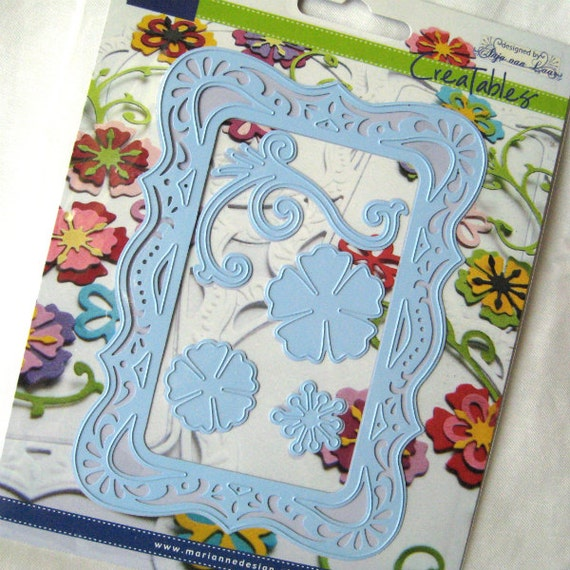 Rectangle Frame Die - Paper Cutting - Lace  Doily Edge - Lg - Swirl - Flower - Marianne - LR0111