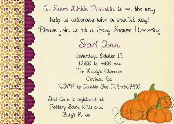 Items similar to Little Pumpkin Baby Shower Invite,Thanksgiving Dinner Invitation, Potluck ...