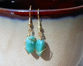 Emerald Green Speckle Semiprecious Agate Earrings with Gold Wire Wrapping and Gold Plate Earwires