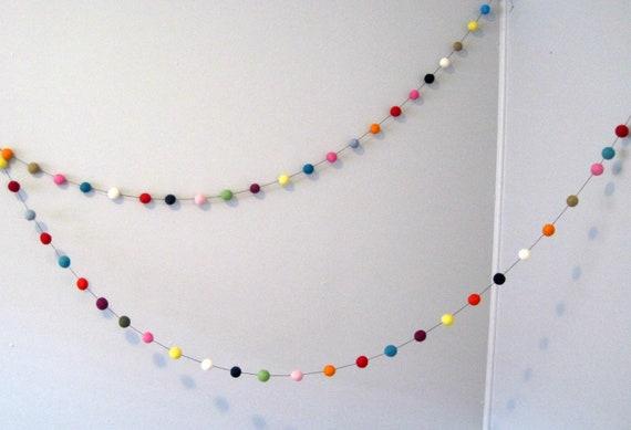 Felt Ball Garland Rainbow Party - 50 felt balls, 3 metres