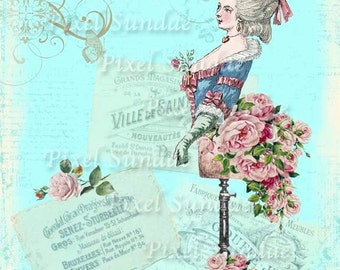 Marie Antoinette Dress Form Collage Print -INSTANT Digital Download