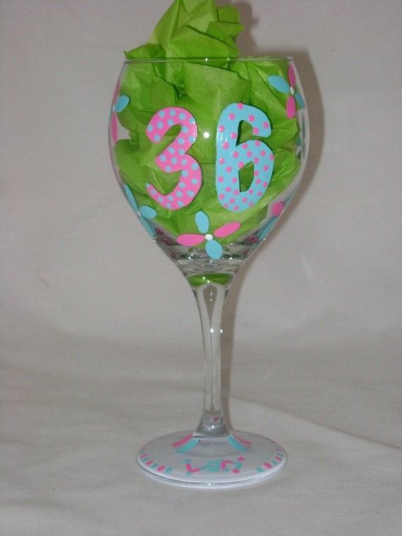 Sassy Hand Painted Birthday Wine Glass, Personalized