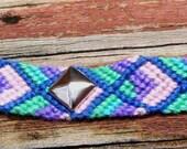 Studded Friendship Bracelet -  Pink Blue  Purple and Sea Green