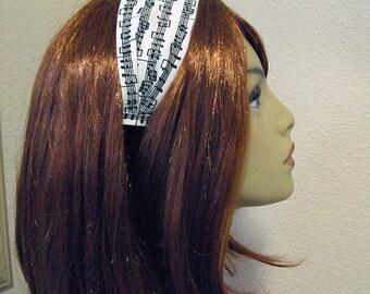 Symphony of Style Headband- Music Notes Print- Black & White