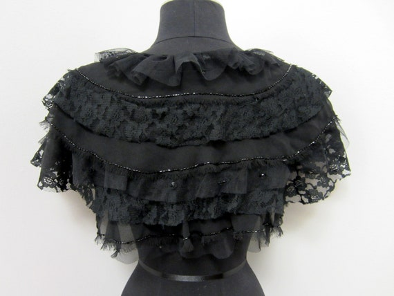 Early 90s Betsy Johnson Shrug - Beaded with Black Lace - Goth Lolita Noir Elegant Playful Formal