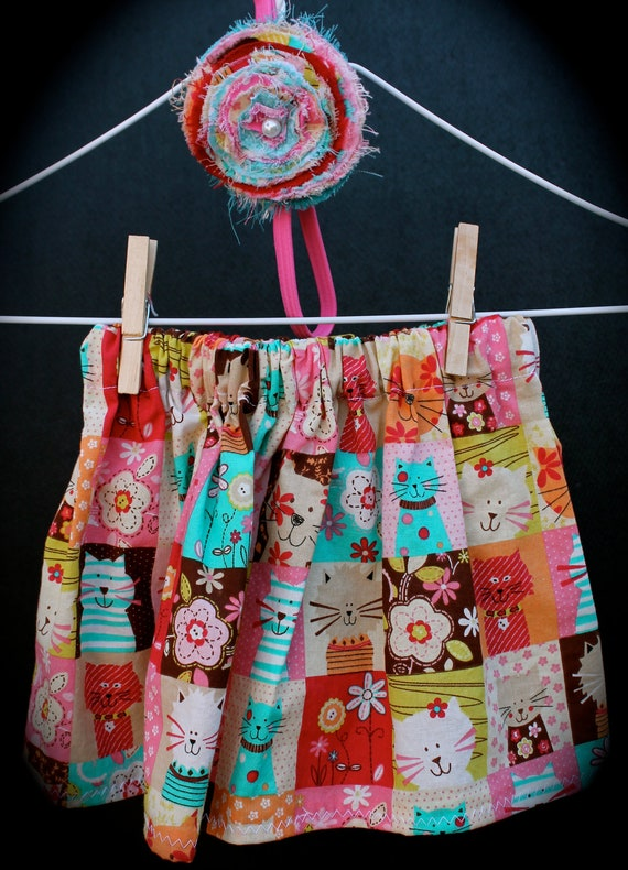 Coupon Code 30% off Sale Girls kitty skirt and matching frayed flower headband