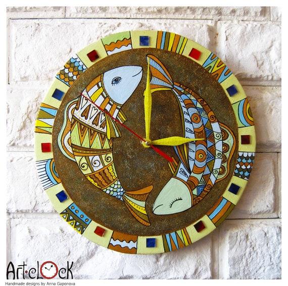 The Fish Wall Clock, Home blue wall clock, large wall clock, modern wall clock, rustic, home decor, vintage wall clock, 2016 autumn trend