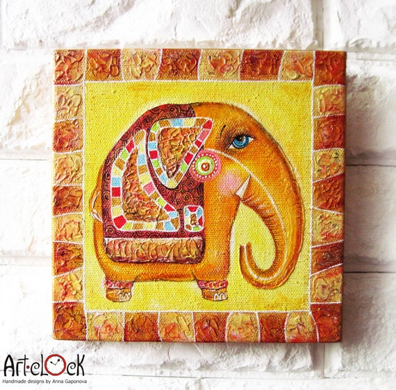 Items Similar To Indian Elephant Original Acrylic Painting