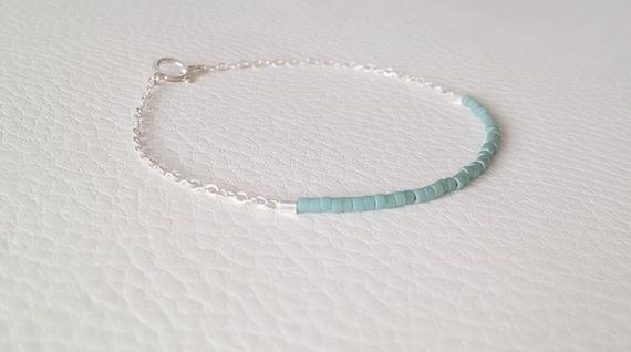 Delicate teal sterling silver bracelet