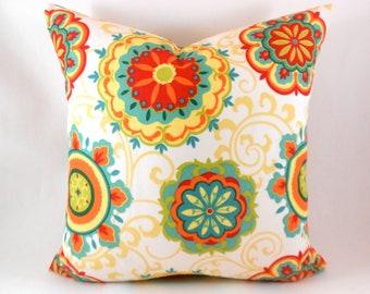 Indoor Outdoor Pillow Covers ANY SIZE Decorative Pillows Orange Pillow Mill Creek Outdoor Farrington Pizazz