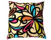 Floral Design Pillow Dark Brown Velvet Trim on Tan - 20 x 20 inch Throw Accent Pillow