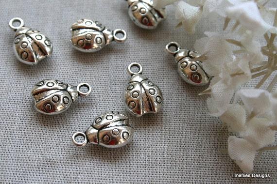 6 3D Tibetan Silver Lady Bug Charms/Pendants