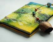 Wet felt notebook / journal / diary Summer mood - green yellow blue Ready to ship Gift under 25 USD