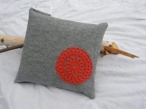 Felt Pillow with crocheted orange flower Cushion  Home Décor Crochet OOAK