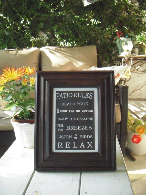 5 X 7 Patio Rules Framed Sign