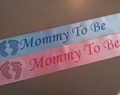Pink or Blue Mommy To Be Sash with Rhinestone Baby Feet