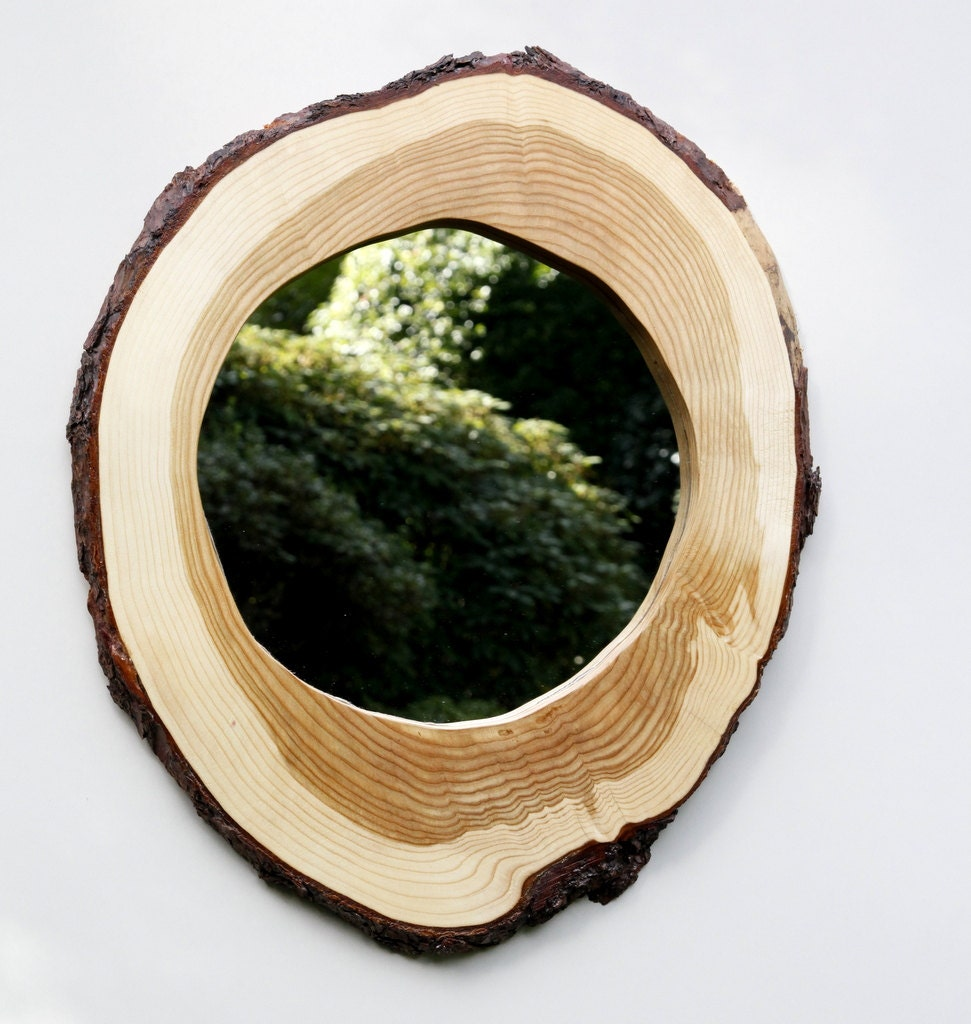 Hand crafted live edge round log slice mirror frame for Wooden mirror frames for crafts