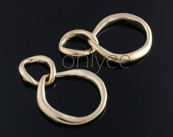 4pcs-31mmX20mm 14K Gold plated over Brass Double Circle Link Circle  connector, charm(K287G)