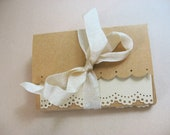 """Mini Stationery Set of 4 Hand Made Note Cards with Kraft Envelopes sz 3.5x2.5"""""""