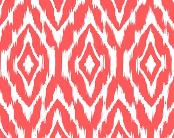 Ikat Fabric by the Yard -  Coral and White
