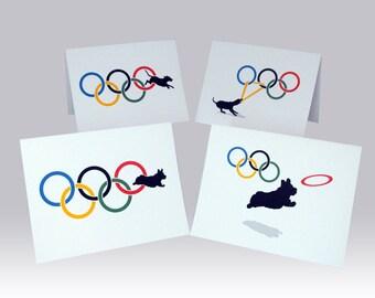 Dog Olympics Greeting Cards Corgi & Labrador Designs